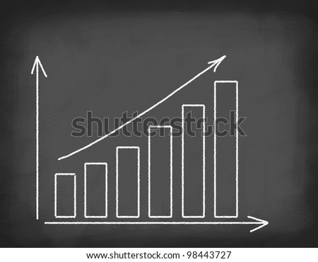 School board with chart of increasing. - stock photo