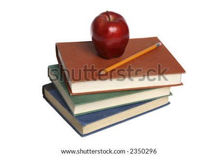 School Books and Red Apple - stock photo