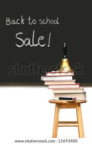 School books on stool with chalkboard - stock photo