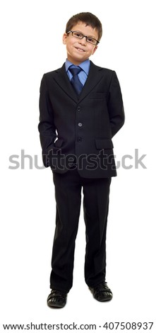 school boy in suit and eyeglasses on white isolated, education concept - stock photo