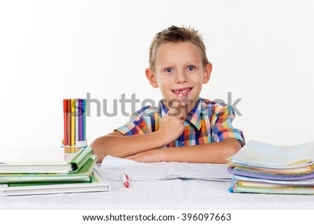School boy without milk tooth  - stock photo