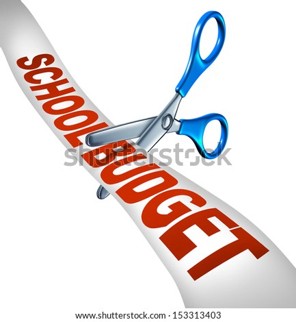 School budget cuts symbol for reducing education expenditures by slashing music and arts programs and eliminating with student scissors cutting a receipt like ribbon as an icon of teaching cutbacks. - stock photo