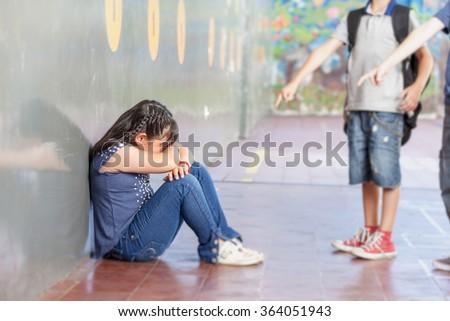 School bullying. Racial isolation. - stock photo