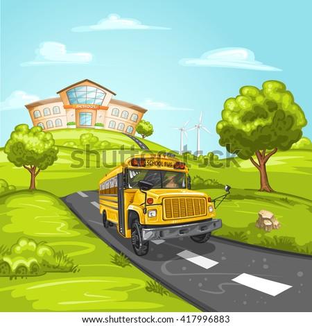 School bus and school building - stock photo