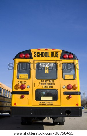 School bus from behind - stock photo