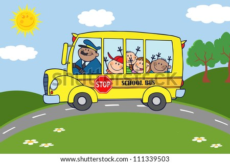 School Bus Heading To School With Happy Children . Raster Illustration.Vector version also available in portfolio. - stock photo