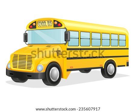 school bus illustration isolated on white background - stock photo