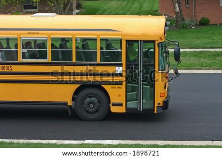 School Bus in Neighborhood - stock photo