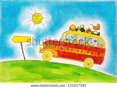 School bus trip, child's drawing, watercolor painting on paper - stock photo