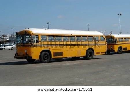 School-buses in Venice beach, California - stock photo