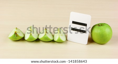 School card and apple with math problems - stock photo