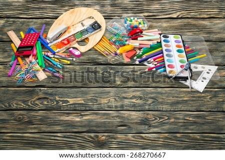 School, chalk, glue. - stock photo