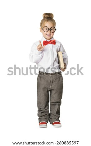 School Child Portrait, Little School Girl in Glasses with Book, Kid Finger Point Up, Small Student Isolated Over White Background, Early Education Concept - stock photo