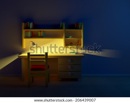 School child room evening. Desk with lamp and book shelves. - stock photo