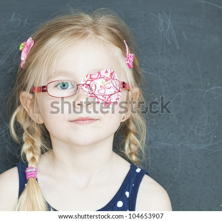 School child with medicine plaster. See my portfolio for more - stock photo