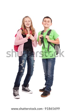 School children, boy and girl, with backpacks isolated on white - stock photo