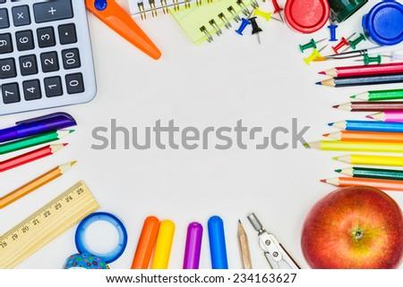 School concept on white background - stock photo