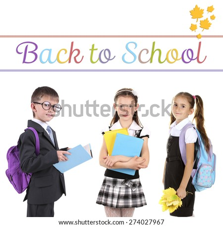 School concept. Schoolchildren isolated on white - stock photo