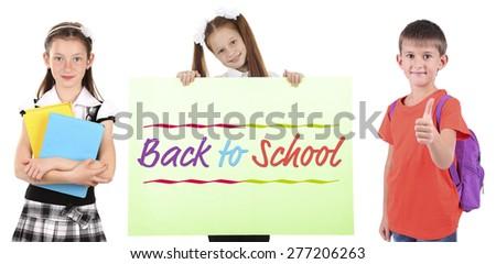 School concept. Schoolchildren isolated on white - stock photo