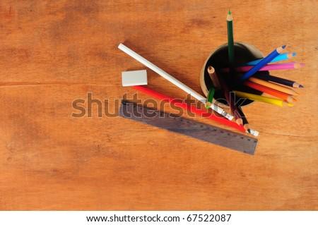 School desk. - stock photo