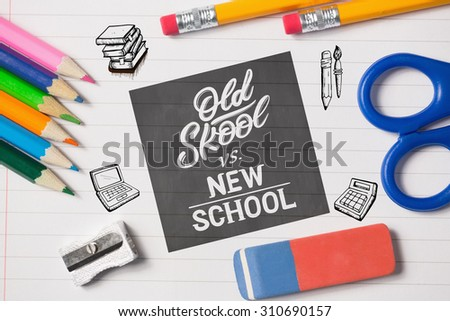 school doodles against notepad and school work supplies - stock photo