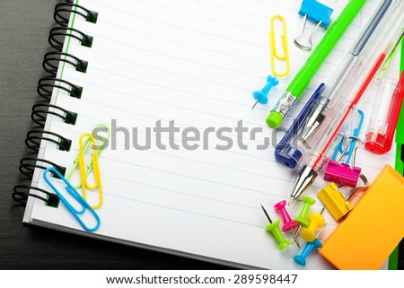 School education background with blank exercise book with copy space. Back to school concept.  - stock photo
