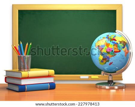 School education concept. Blackboard, books, globe and pencils. 3d - stock photo