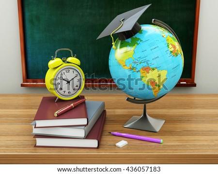 School education concept. Mortar board, blackboard, textbooks, globe and pencils. 3d illustration - stock photo