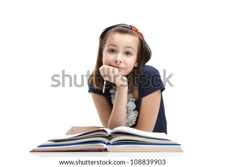 School girl is waiting for inspiration to start writing, isolated, white background - stock photo