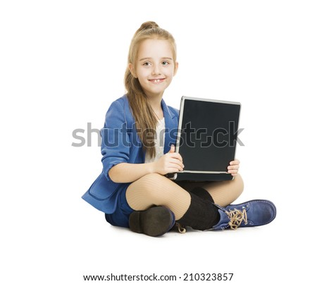 School Girl Kid and Computer. Schoolgirl with Notebook, Laptop isolated white background - stock photo