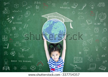 School girl kid lifting world map globe w/ freehand chalk doodle drawing of graduation hat cap on green chalkboard background celebrating educational success: Children education World literacy concept - stock photo