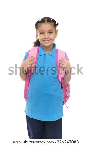 School Girl with Pink Backpack Isolated on White Background - stock photo