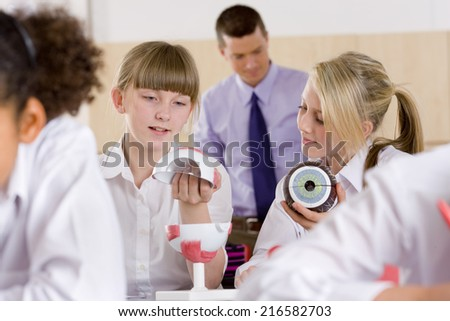 School girls working with biology model in classroom - stock photo