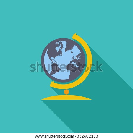 School globe icon. Flat related icon with long shadow for web and mobile applications. It can be used as - logo, pictogram, icon, infographic element. Illustration. - stock photo