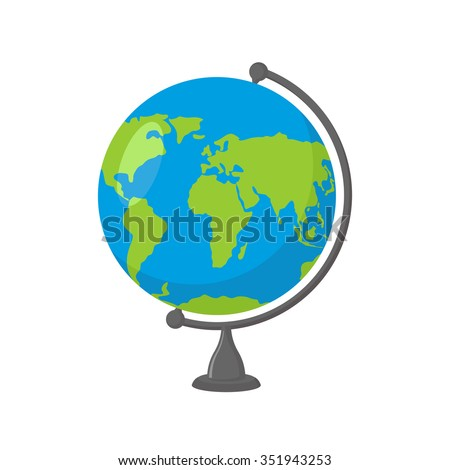 School Globe -  model of  Earth. Model of celestial sphere of planet. Object of learning. Icon of globe. Sphere map of  continents and oceans - stock photo