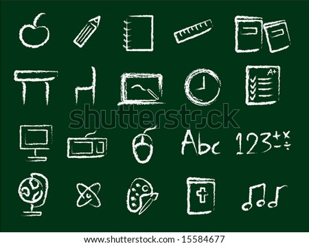 School Icons - JPEG (Please see my portfolio for vector version) - stock photo