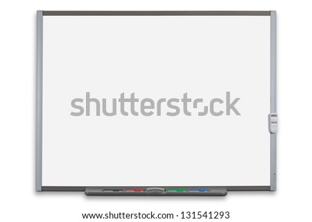 School interactive whiteboard or IWB with remote control, isolated on a white background. Clipping path provided for both the board and screen. - stock photo