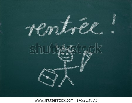 "School kid's drawings on green blackboard, french writing "" rentr�©e"" - stock photo"