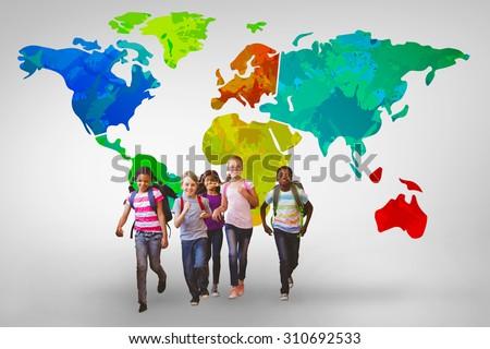 School kids running in school corridor against grey vignette - stock photo