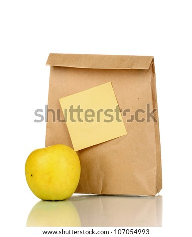School lunch isolated on white - stock photo