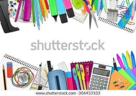 school / office supplies on white background - stock photo