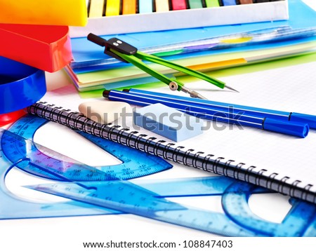 School  office supplies with compasses. - stock photo