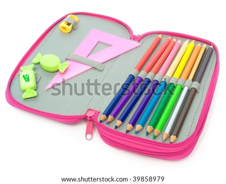 School pencil case isolated on white - stock photo