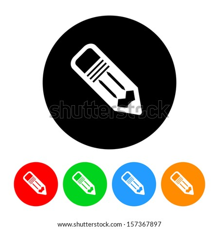 School Pencil Icon with Color Variations.  Raster version. - stock photo