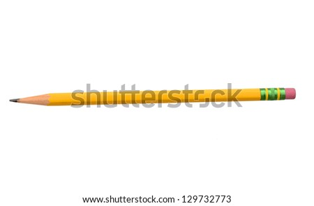 School pencil isolated on pure white background - stock photo