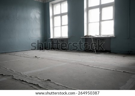 school room in an abandoned village in the North - stock photo