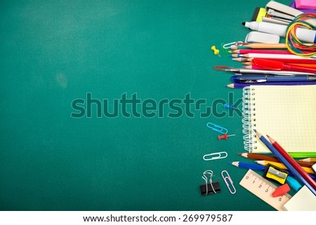School. School stationery isolated over white with copyspace - stock photo