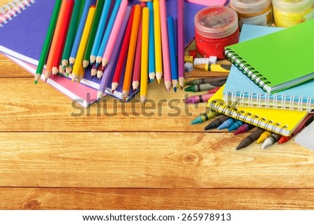 School. School supplies on white background - stock photo