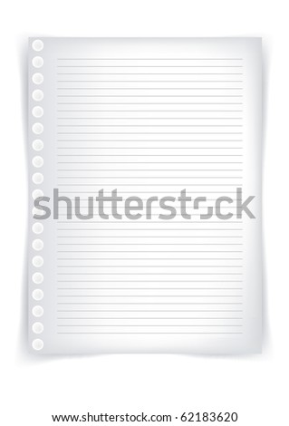 School sheet of paper, sheet of paper from a notebook - stock photo