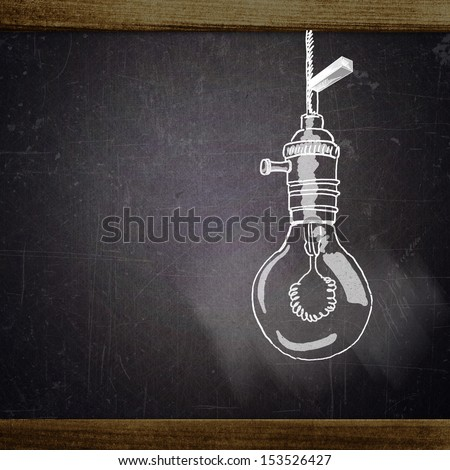 school sketches on blackboard, lamp - stock photo